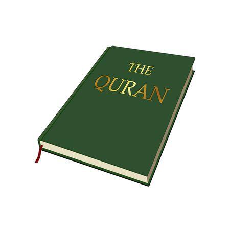 Quran. Muhammad revelation. Muslim belief. Religious book. Vector graphic illustration. Isolated