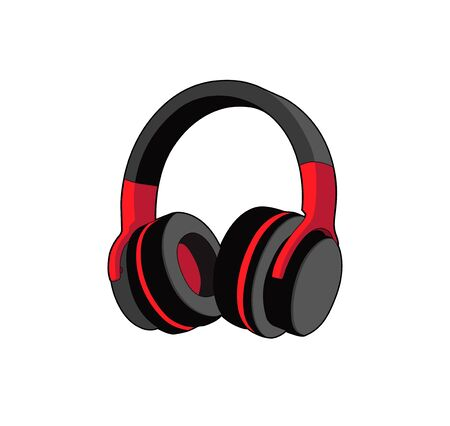 Headphones stereo. digital sound headset. Vector graphic illustration. Isolated headphones