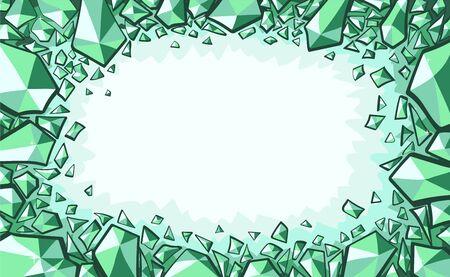 Emerald crystals or gemstones decoration. Green frame background. Vector illustration emerald