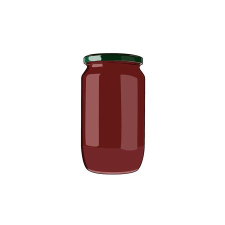 Tomato sauce. Tomato paste. Pasta bolognese canned sauce. Tomato puree. Vector graphic illustration Archivio Fotografico - 140180769