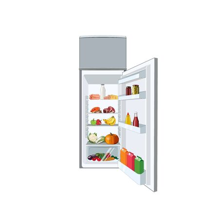 Fridge full of food, vegetables, fruits, meat, fish. Healthy diet fridge. Open refrigerator. Vector graphic illustration open fridge food Ilustração