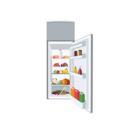 Réfrigérateur plein de nourriture, légumes, fruits, viande, poisson. Réfrigérateur de régime sain. Réfrigérateur ouvert. Illustration graphique de vecteur ouvert réfrigérateur alimentaire Vecteurs
