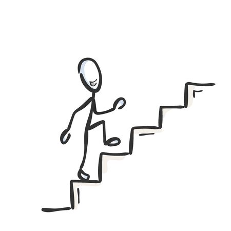 Going up the stairs. Successful proud and happy man. Ascend staircase. Hand drawn. Stickman cartoon. Doodle sketch, Vector graphic illustration