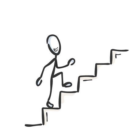 Subiendo las escaleras. Hombre orgulloso y feliz exitoso. Subir escalera. Dibujado a mano. Dibujos animados de Stickman. Bosquejo del Doodle, ilustración gráfica vectorial
