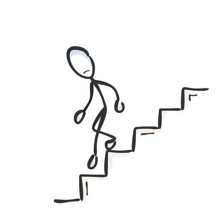 Bajando las escaleras. Hombre triste fracasado. Bajar escalera. Dibujado a mano. Dibujos animados de Stickman. Bosquejo del Doodle, ilustración gráfica vectorial Ilustración de vector