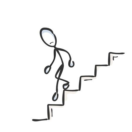 Going down the stairs. Unsuccessful sad man. Descend staircase. Hand drawn. Stickman cartoon. Doodle sketch, Vector graphic illustration