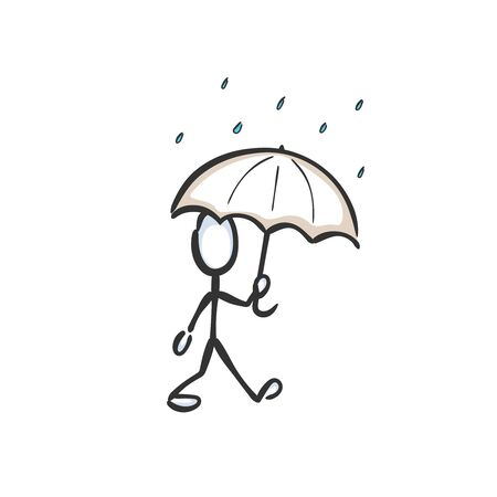 Man with umbrella walking in the rain. Rainy day, Rainy weather. Hand drawn. Stickman cartoon. Doodle sketch, Vector graphic illustration