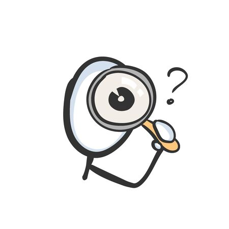 Looking into magnifying glass. Inspect, search and analyze detective. Hand drawn. Stickman cartoon. Doodle sketch, Vector graphic illustration 向量圖像