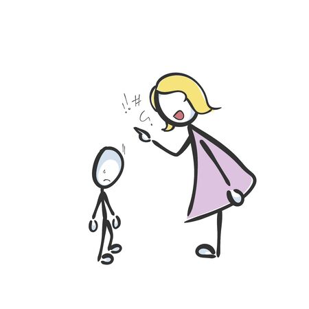 domestic violence. Mother punish child. Mom educates and shouts at kid. Hand drawn. Stickman cartoon. Doodle sketch, Vector graphic illustration family fight