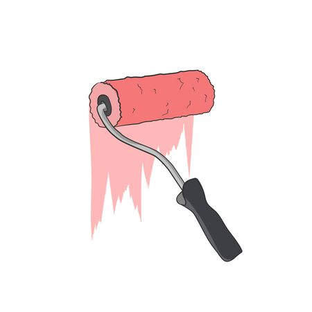 Paint roller red emulsion. Wall decoration. Painting equipment. Vector graphic illustration. drawing painter
