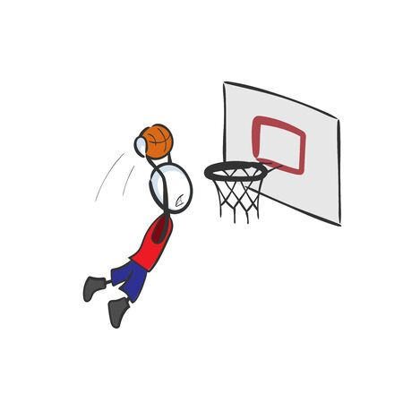 Basketball player score. High jump. Hand drawn. Stickman cartoon. Doodle sketch, Vector graphic illustration 向量圖像