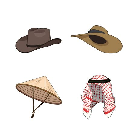 Set of traditional hats and head accessories. Chinese or vietnamese triangle bamboo hat, cowboy nad lady hats, arabic muslim head scarf. Vector graphic illustration. Isolated