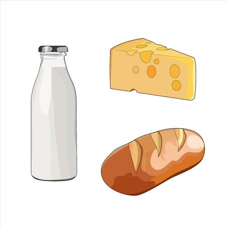 Milk in glass bottle. Fresh baked crusty bread. Yellow swiss slice of cheese. Cheddar cheese with holes. Dairy food set. Vector graphic illustration diary food milk cheese
