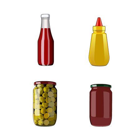 Seasoning sauce set. Tomato ketchup, mustard, bolognese sauce, olives in jar. Food ingredients. Vector graphic illustration sauce ketchup