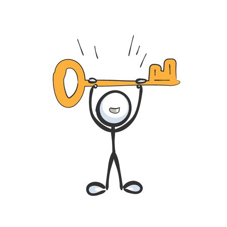 find a way to success. Holding a key. Happy man. Hand drawn. Stickman cartoon. Doodle sketch, Vector graphic isolated illustration key success find way