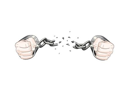 free slave broken handcuffs chain. White hands. Vector graphic illustration 向量圖像