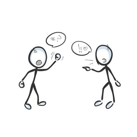 Conflict and disagreement. enemies fighting and arguing with anger and aggression. Shouting, argumentation, violence. Hand drawn. Stickman cartoon. Doodle sketch, Vector graphic illustration
