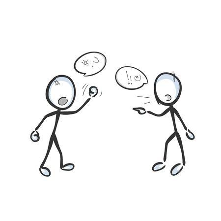 Konflikt und Uneinigkeit. Feinde kämpfen und streiten mit Wut und Aggression. Geschrei, Argumentation, Gewalt. Handgemalt. Strichmännchen-Karikatur. Doodle-Skizze, Vektorgrafik-Illustration