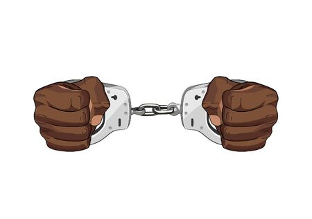 Arrested by police. Handscuffs. Freedom restrained in jail. vector graphic illustration isolated