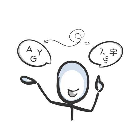 Languages translation. International communication. Glyph to letter. Hand drawn. Stickman cartoon. Doodle sketch, Vector graphic illustration