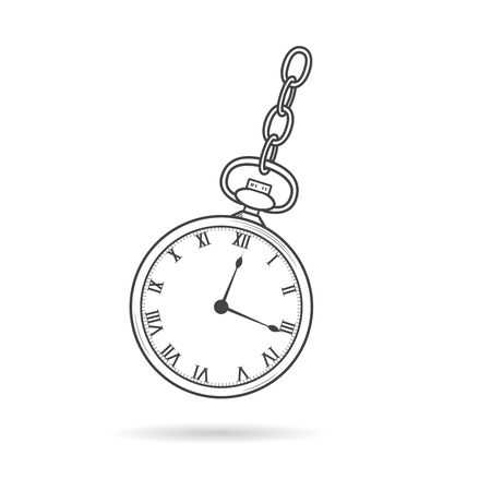 Hypnosis watch. Stopwatch for hypnotherapy. Pocketwatch with chain. Sport countdown timer. Line graphic vector simple illustration