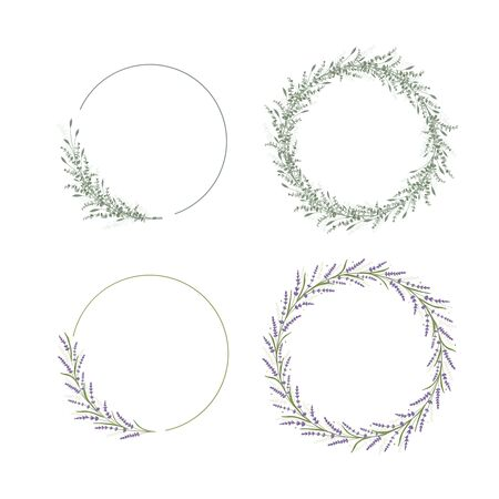 Floral frame decoration for wedding and invitation card. Flower and leaf design circle template. Eucalipus and lavender branch. Green organic decor. Vector illustration Vecteurs