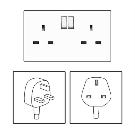 plug and UK socket. Three 3 pin plug icon set. British socket. Electric power. vector graphic illustrated. Three pin socket sheme isolated vector graphic illustration. simple electrical diagram