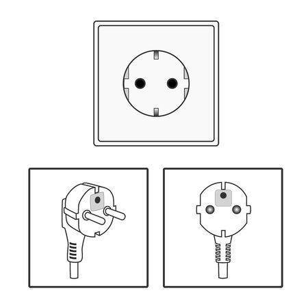 Euro socket and plug. Icon set. Two 2 pin socket sheme isolated vector graphic illustration. simple diagram electrical appliance plug