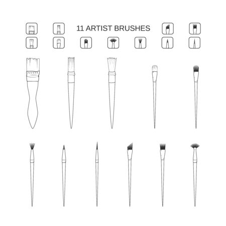 Art and painting brush set. Simple line icons stationary artist watercolor and acrylic accessories. Vector illustration. filbert brush linear angular dotting texture bristle mop tuft pointed rigger fan coating Vector Illustratie