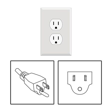 US socket and plug. Icon set. Three pin socket sheme isolated vector graphic illustration. simple diagram electrical appliance plug