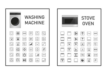 Oven and washing machine functions and settings icon set. Manual symbol collection. Vector graphic illustration