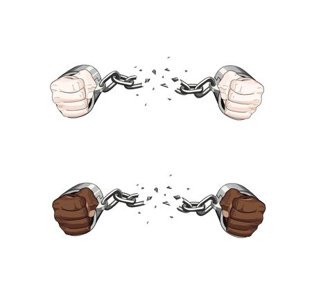 No racism. free slave broken handcuffs chain. realistic White and african hands cuffed. Vector graphic illustration. No slavery, racism. People freedom.
