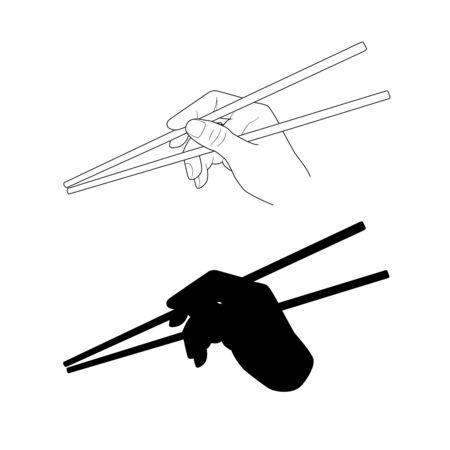 Hand holding sushi chopsticks. Using Japan wok chopsticks. vector drawing. Graphic illustration Asian food. Wooden sticks sushi chinese noodles rice take away