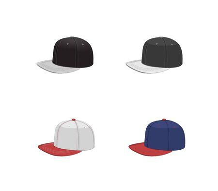 Baseball cap snap back set. cartoon vector hip hop design boy hat. isolated street snapback graphic illustration. fashion style cap snapback