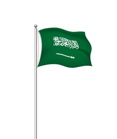 Saudi arabia national flag. vector world flags. Country national flag post transparent background. Graphic realistic illustration. waving flag green