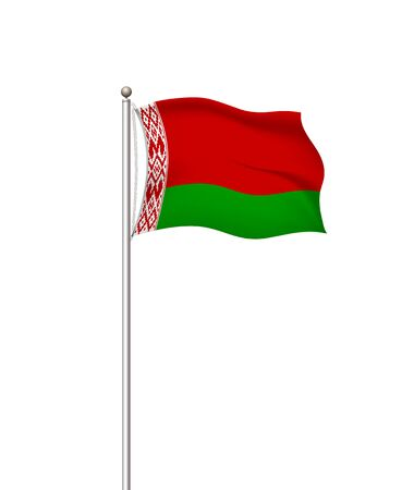 Belarus national flag. vector world flags. Country national flag post transparent background. Graphic realistic illustration. waving flag red green pattern Ilustração