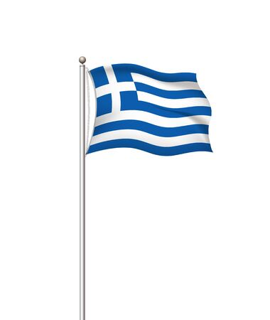 Greece national flag. vector world flags. Country national flag post transparent background. Graphic realistic illustration. waving flag