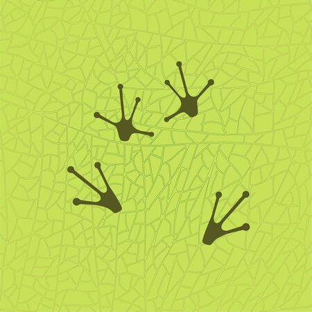 Frog sitting on leaf footprints. Vector frog feet. Isolated illustration. Frog paws silhouette on the green leaf texture background frog graphic leaf texture