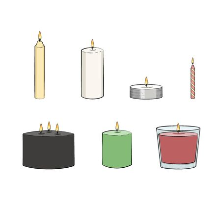 Candle simple illustrated set. Vector candles: long stick, jar, pillar candle, container candle, tealight, multi wick, party candle. Isolated graphic illustration. Candle set