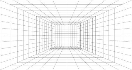 Perspectief raster achtergrond 3d vectorillustratie. Model projectie achtergrond sjabloon. Lijn één punt perspectief. werkblad voor ontwerperperspectiefraster