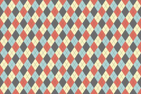 Classic argyle british pattern. Vector seamless textile texture. diamond background graphic illustration. red, blue, beige, grey british pattern