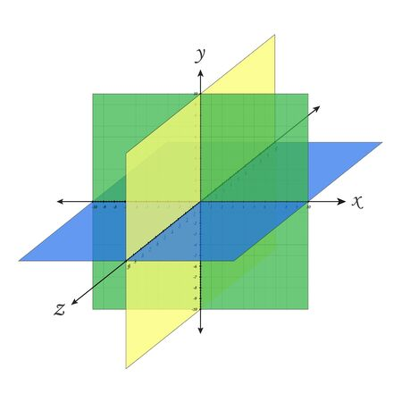 Cartesian octant plane navigation coordinate system perspective grid three-dimensional. Vector isometric solid shapes projection. geometry and algebra scheme. Blank worksheet point graph. Graphic illustration coordinate perspective grid Vectores