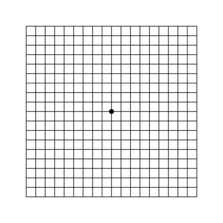 Amsler eye test grid. Vector printable chart retina examination. Grid with dot in centre. Vision control. Eye check amsler grid test
