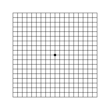 Amsler eye test grid. Vector printable chart retina examination. Grid with dot in centre. Vision control. Eye check amsler grid test Vectores