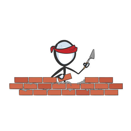 Construction worker laying bricks. Vector simple stickman. Building installing red bricks house. no face clipart cartoon. Hand drawn. Doodle sketch, graphic illustration