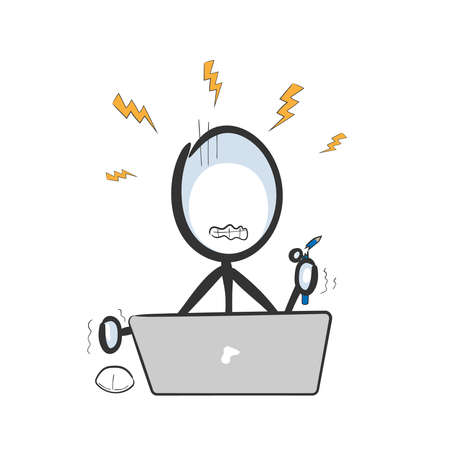 Internet fraud. Angry man .Vector simple stressed using computer. Stickman no face clipart cartoon. Hand drawn. Doodle sketch, graphic illustration mad online