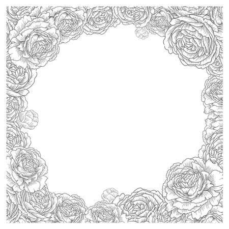 Floral square frame. Elegant flowers, roses, peonies vector. Decorative wedding card background template. graphic illustration