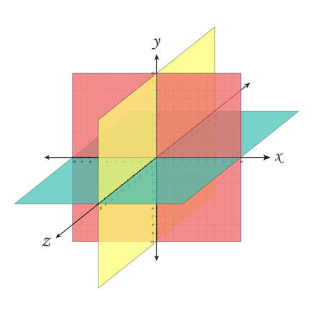 Cartesian coordinate system perspective grid three-dimensional. Vector isometric solid shapes projection. geometry and algebra scheme. Blank worksheet point graph. Graphic illustration