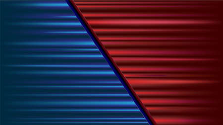 Red vs blue battle contest. Versus vector background. Competition half red against half blue. Game combat match. winning team. Graphic illustration vs background Vettoriali