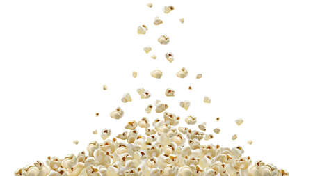 Popcorn making machine. Realistic vector popcorn falling down. A lot of popcorn. graphic illustration pop corn fall
